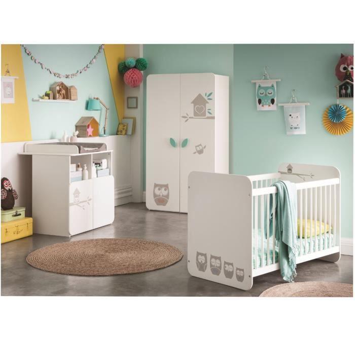 HIBOUX Chambre Bébé Complète : Lit 60x120 cm + Armoire + Commode