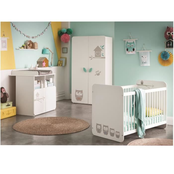 hiboux chambre b b compl te lit 60x120 cm armoire commode blanc velours achat vente. Black Bedroom Furniture Sets. Home Design Ideas