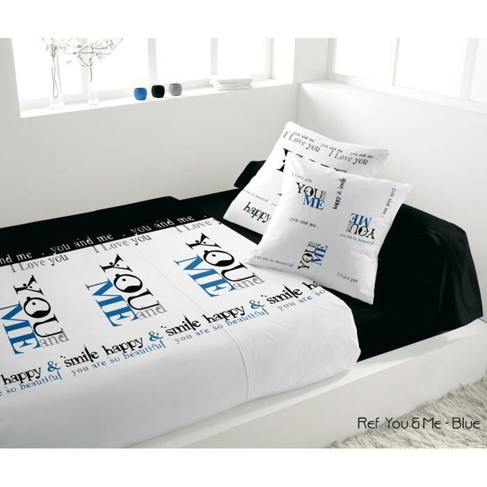 SOLEIL D'OCRE Parure de lit YOU & ME 100% coton - 1 drap housse 140 + 1 drap plat + 2 taies d'oreiller + 1 taie de traversin - Bleu