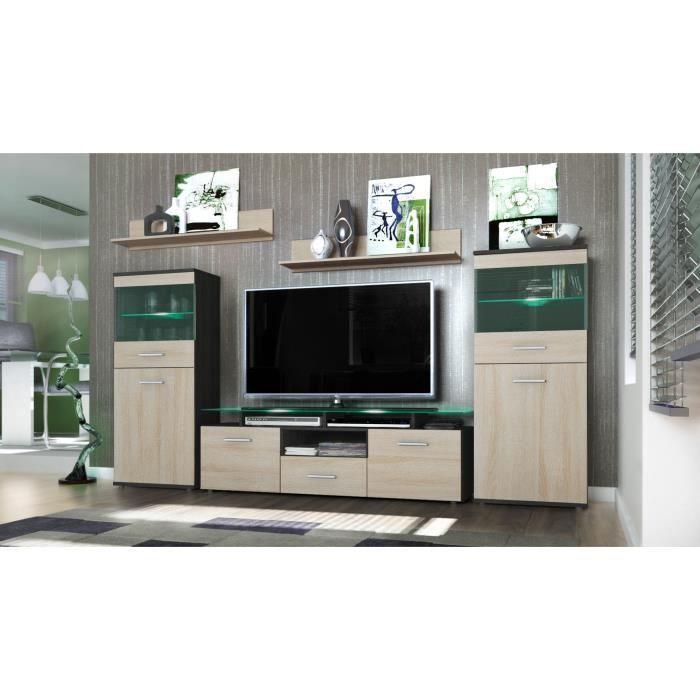 Ensemble meuble tv noir et bois achat vente ensemble for Ensemble meuble tv bois