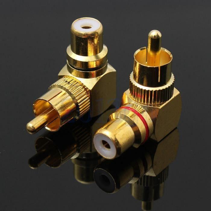 2pcs plaqué or à angle droit RCA mâle à femelle Connecteur 90 degrés