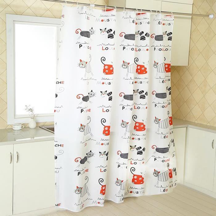 rideau de douche tissu chat anti moisissure pas transparent blanc avec 12 anneaux pour salle de. Black Bedroom Furniture Sets. Home Design Ideas