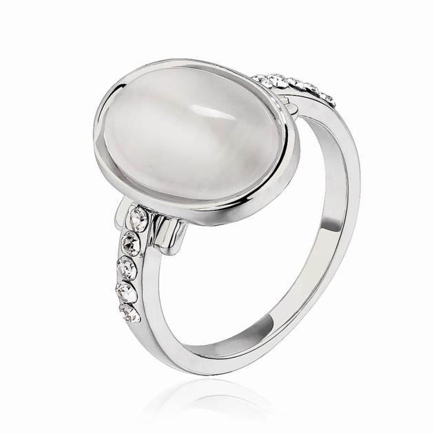 Bague danniversaire - Opale - Platiné 750 18K - Opale - Blanc - Laurens- Cadeau Femme pas cher