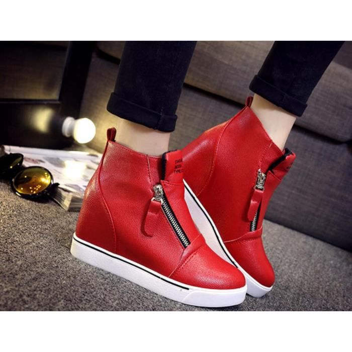 Pure Color Casual Toe Round Heighe des femmes A...