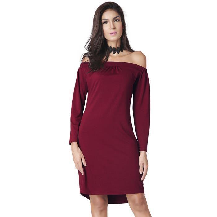 Robe Mi-Longue à manches Longues Et Col épaules Dénudées Pour Femme ... 34761c49a1b3