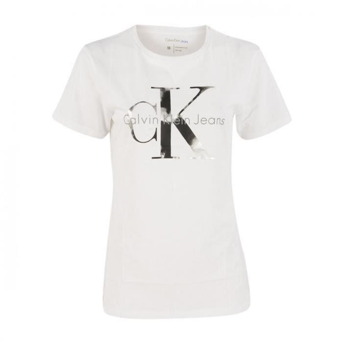 T Ckj Femme Logo Blanc Shirt Calvin Klein Courte Manche 58xCqCgw7