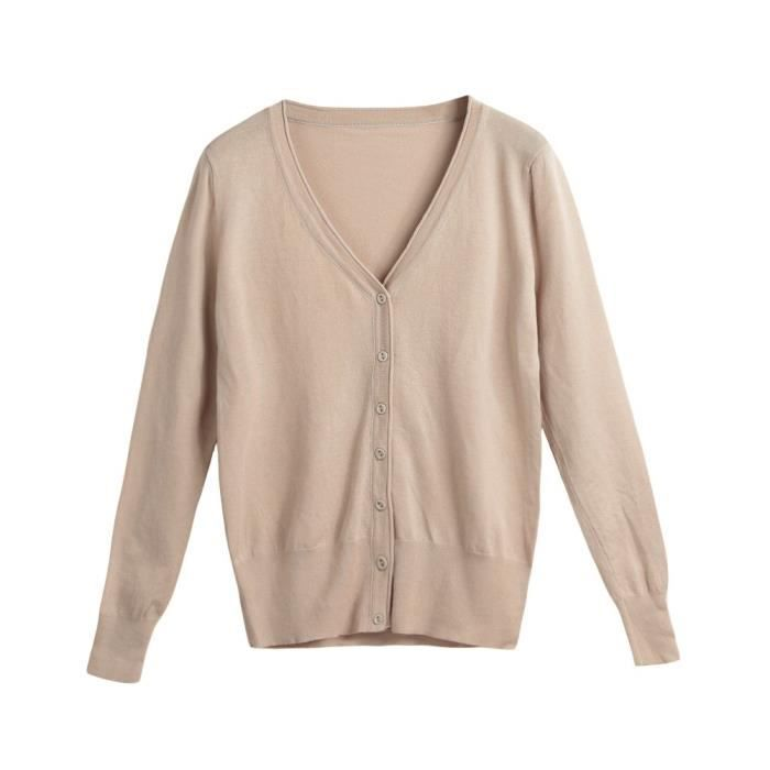 Cardigan en maille solide de femmes Pull manteau à manches longues col V  Femme Maille Casual Top 1YB1GN Taille-40 ee48f894aa71