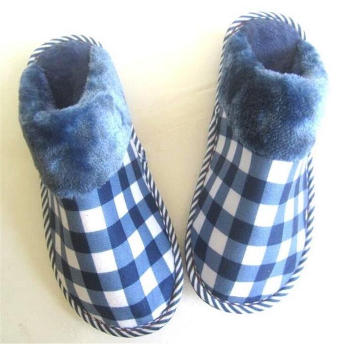 Pantoufles de maison de treillis de luxe de mode des hommes chauds pantoufles de confort silencieux de lumière