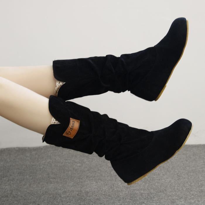Hiver Chaussures Nubuck Botte Moto Automne Noir Bottes De femme Genou Zy1015739 Talon Plat Frankmaii IY76gvybf