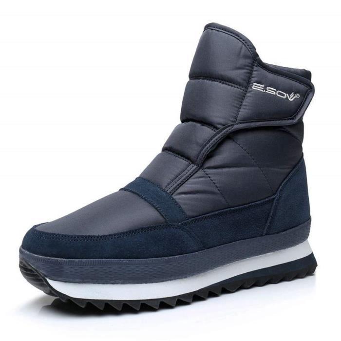 1f638f2ac19 Bottine Neige Femme Homme Hiver Chaussures Fourrées Scratch Doublure Chaude  Bottines Snow Boots Outdoor Sneakers Imperméables Noir