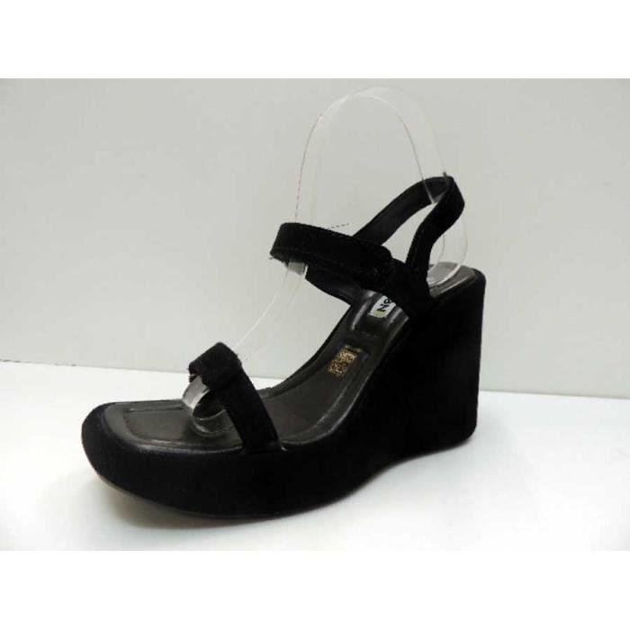 Chaussure Sandale No Name à talon compensé Cuir Peplum Velcro Black Pointure 39