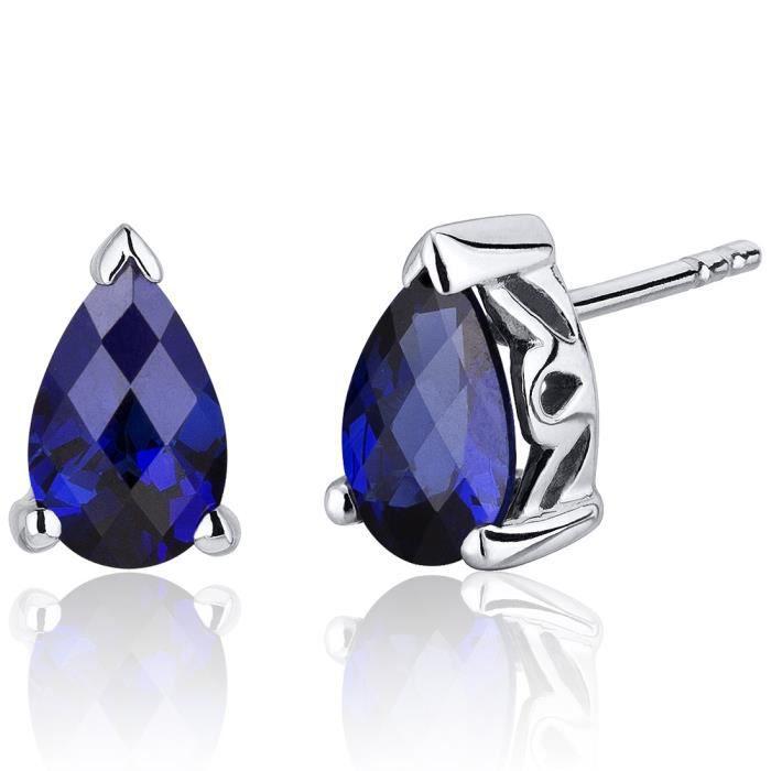 Excellent Boucle Oreille Saphir Bleu. Boucles Duoreilles Gabrielle Or Blanc  JG28