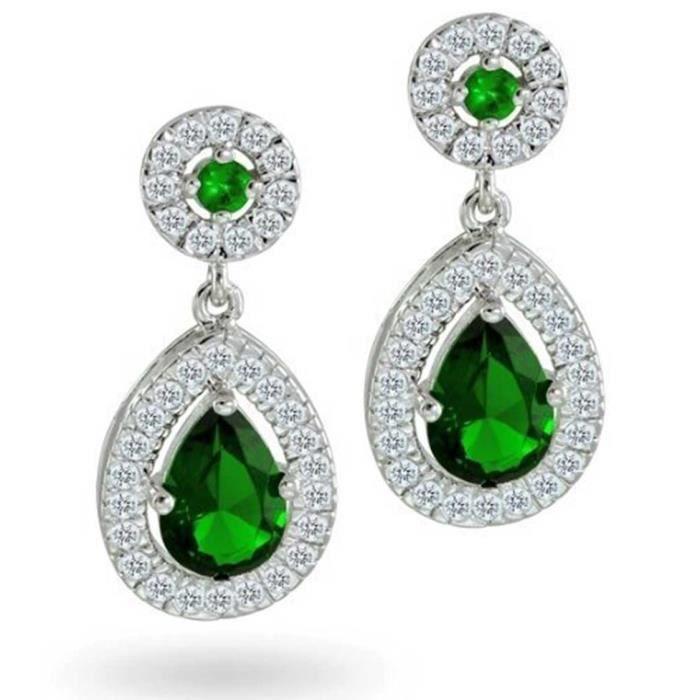 Bling Jewelry CZ Émeraude simulé Suite Nuptiale Teardrop Boucles dargent plaqué