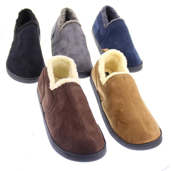 Norman Memory Foam Slippers Warm Sherpa Fleece Lined House Shoes Casual Slip On Loafers COWP5 Taille-44 1-2