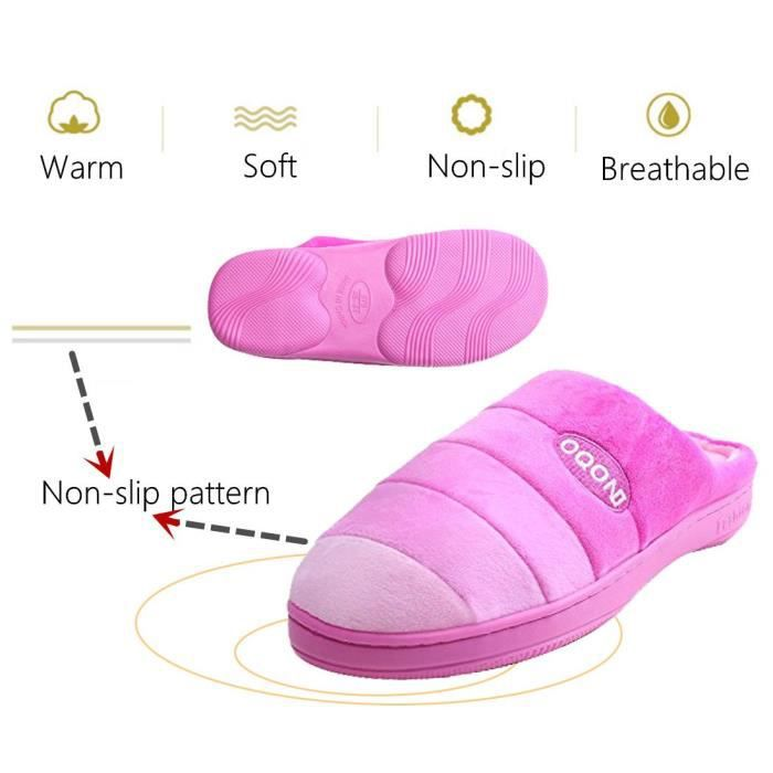 Gradient Color Memory Foam Warm House Slippers For W-indoor Outdoor Sole I7LON Taille-40