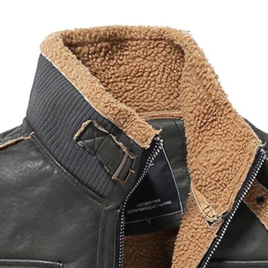 Moyenne Noir Veste Pour D'hiver Homme Cachemire Cuir Poche En Longueur De Manteau Épaississement URqwxfR