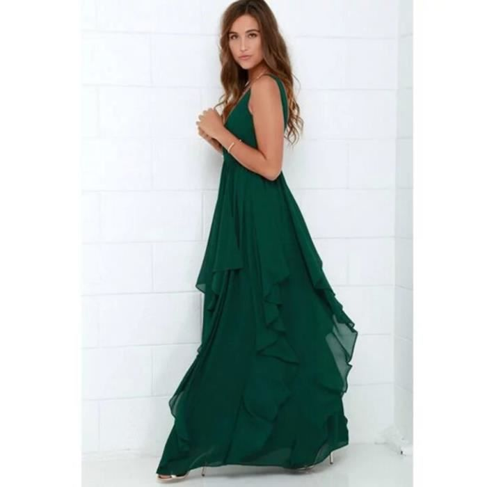 Femme Longue Robe Vert
