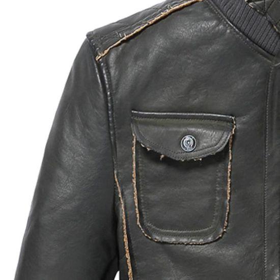 D'hiver Moyenne Épaississement Pour Homme Manteau Noir Veste En Cuir Poche Cachemire Longueur De q5wdqC0