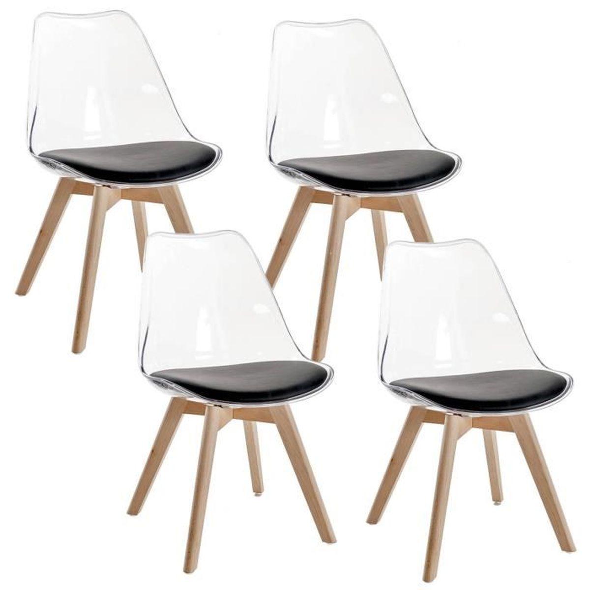 chaise lot de 4 chaises scandinaves transparent noir - Chaises Scandinaves Transparentes