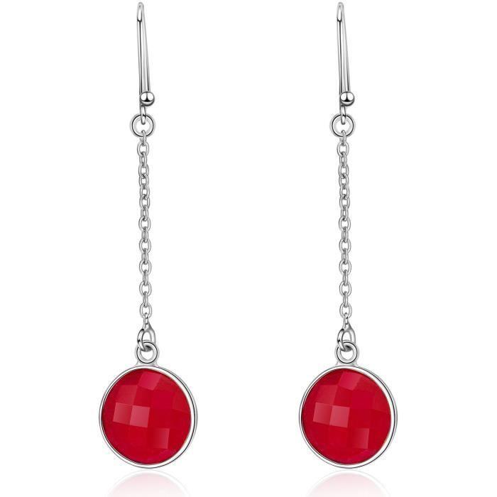 Boucles d'oreilles en Argent 925 avec Pierres Gemmes Rubis rond, teint en rubis de qualité AAABOUCLE D OREILLE