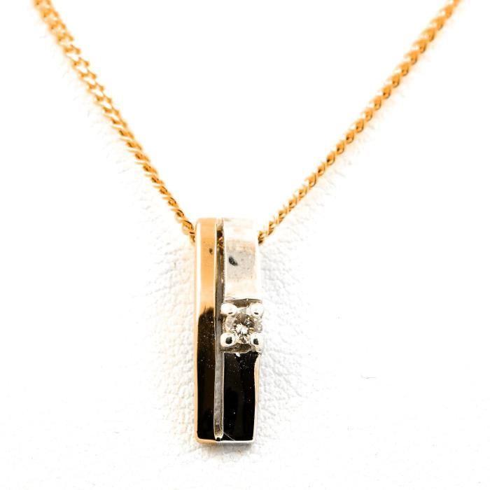 Pendentif collier 1 diamant or blanc et jaune 18K. 3,97 g