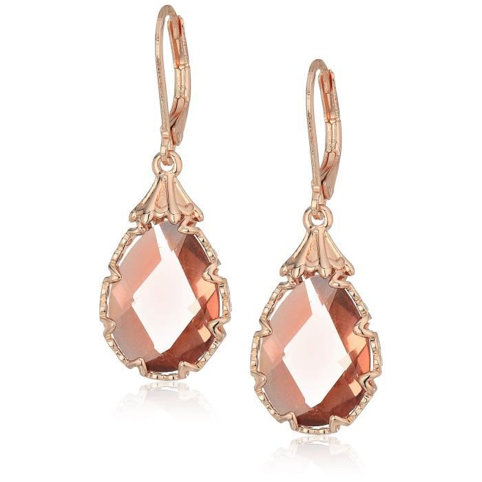 Womens Rose Gold Pear Stone Drop Earrings Z8ER7