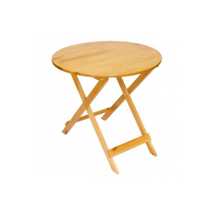 Table de jardin pliable bois de pin massif Ø=80cm - Achat ...