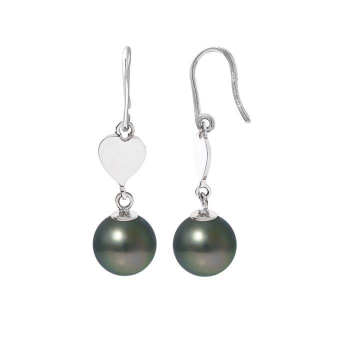 Boucles dOreilles Coeur Pendantes Perles de Tahiti et Argent 925-1000- Blue Pearls