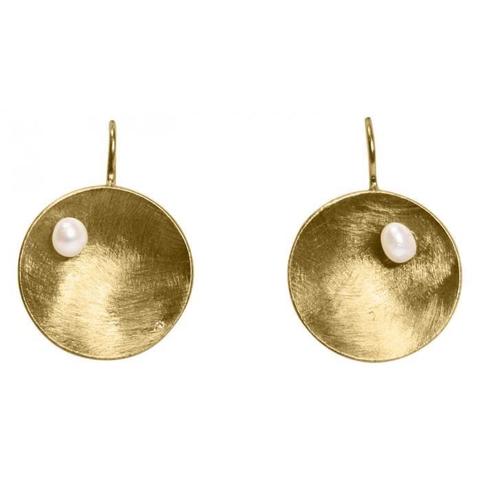 Gemshine - Dames - Boucles doreilles - Boucles doreilles - 925 Argent - Or - coquille - géométrique - Design - Perle - Blanc - 3