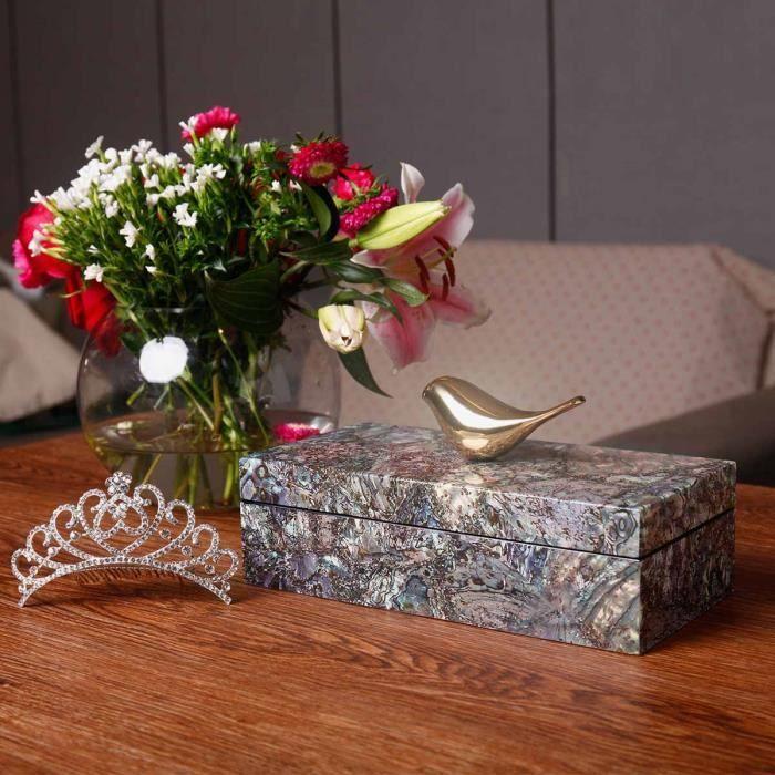 Boîte à bijoux en Bois Boîte de rangement Anneau collier boucles doreilles bracelets Cadeau danniversaire pour femmes