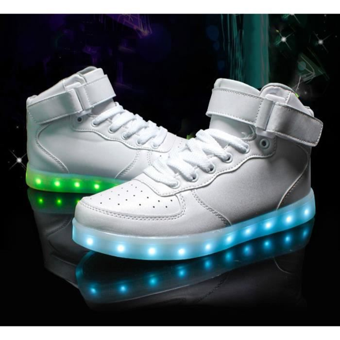 Chaussures LED Femme Homme Blanc USB Rechargeab... 5ckEwbY9C