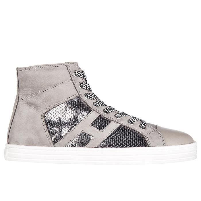 Chaussures baskets sneakers hautes femme en daim r141 laterale pailettes tessuto Hogan Rebel R9DRbbDE