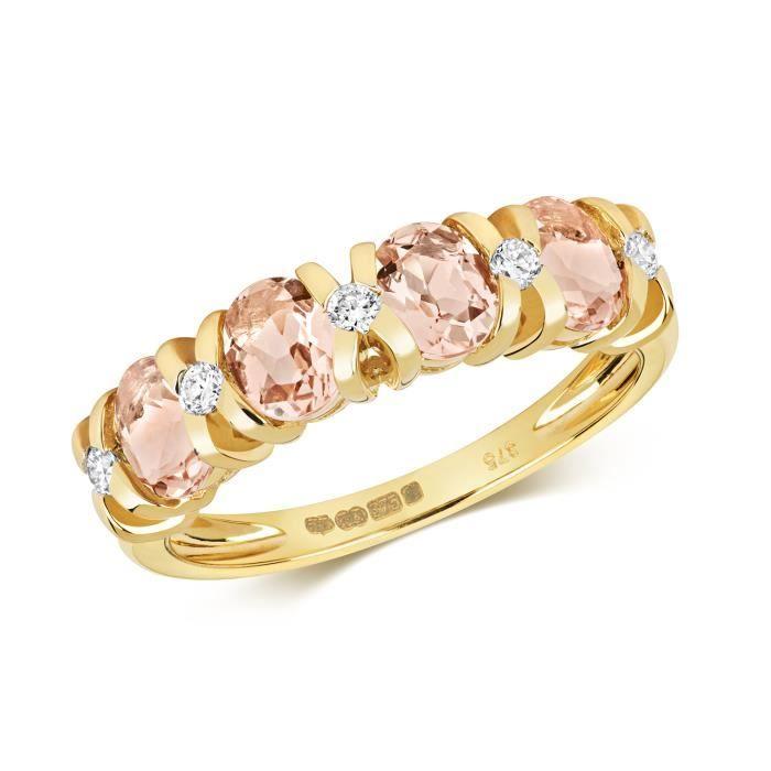 Bague Femme Semi Pavée Or 375-1000 et Diamant Brillant 0.12 Carat avec Morganite 37437