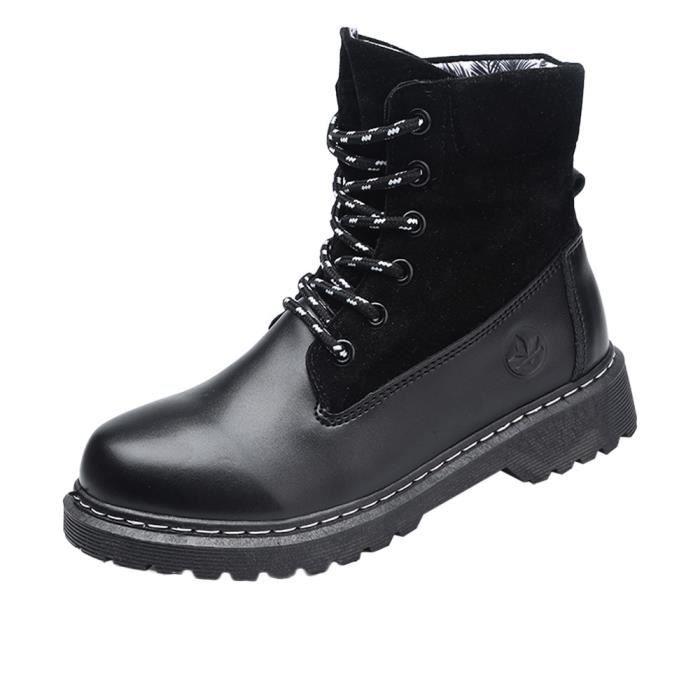 Pliant Martin Pais Bas Cuir Chaussures Tte Noir Ronde Femmes Casual Boot En Bottes qw6v8nxUY
