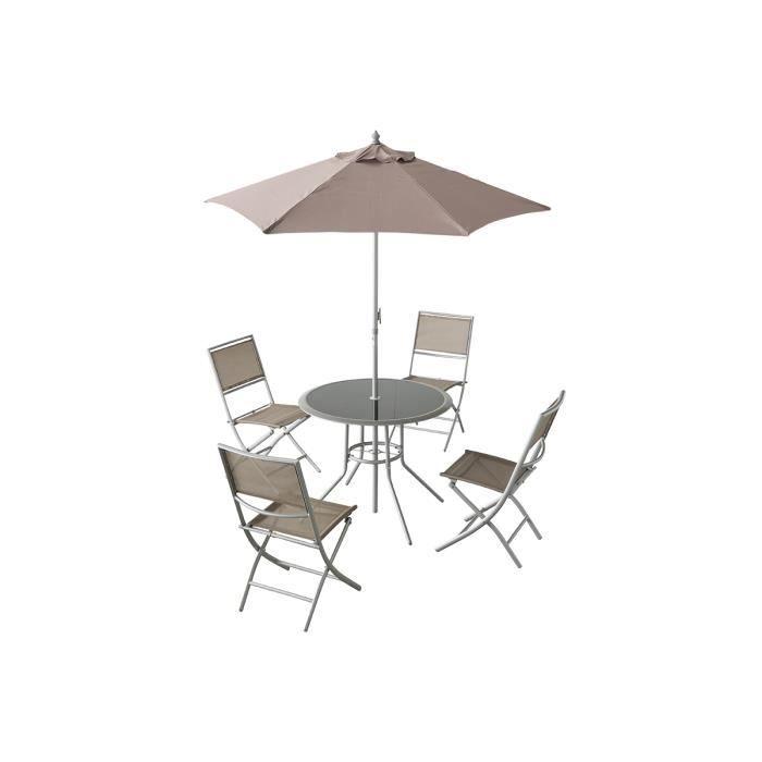 Ensemble de jardin de 4 chaises, 1 parasol Oceane Taupe avec 1 table ...