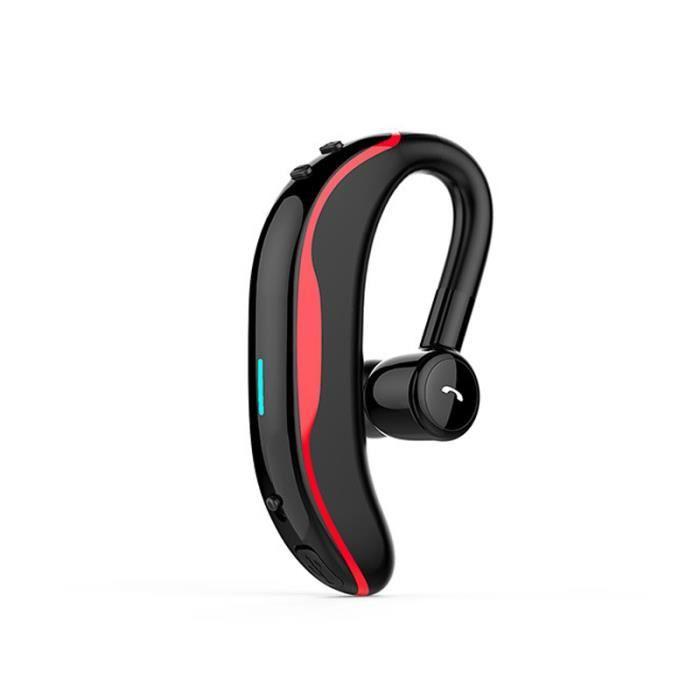 Ecouteur Bluetooth Sans Fil Anti-transpiration Sur L'oreille Casque De Sport Longue Attente Rotation 180 Degrés -rouge