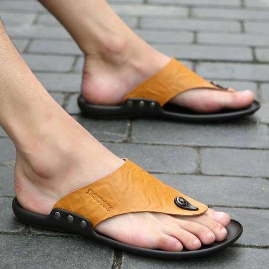 Tongs Hommes Cuirs Flip Caoutchouc Flops ConfortablePantoufle Sandales En Caoutchouc Flip Casual Respirant Marron Marron - Achat / Vente basket 12a7ec
