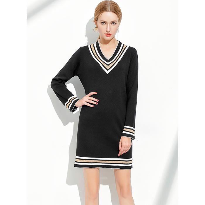 robe noire femmes à manches longues, plus la taille haute qualité casual nouveau printemps 2018 grande taille