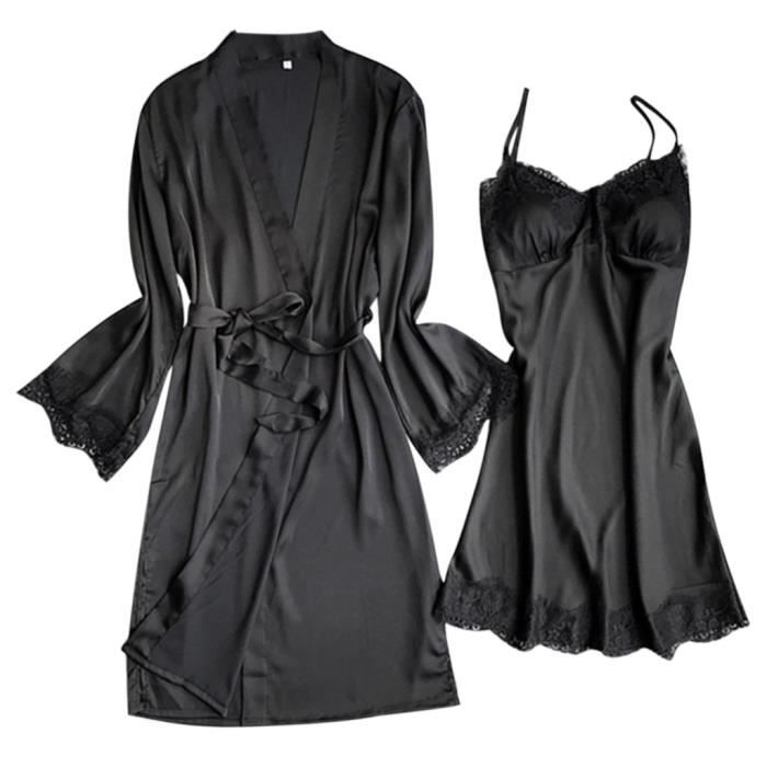 V Détails Pyjama Size Encolure Dentelle En noir Frangée Plus Femmes Lingerie 8a055