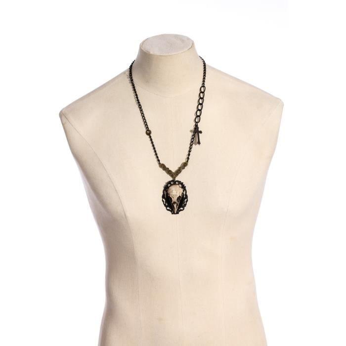 Long collier caméE crâne doiseau avec chaîne noire, croix et rouage, gothique steampunk aille unique Noir