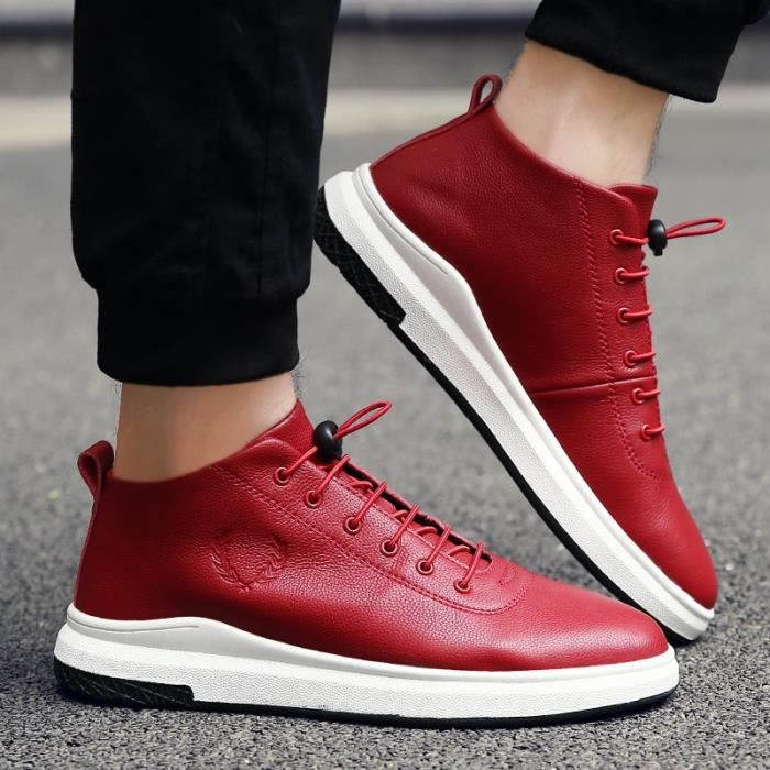 Skateshoes Homme Hiver - automne l'exécution Sneaker antidérapante hommes rouge taille44