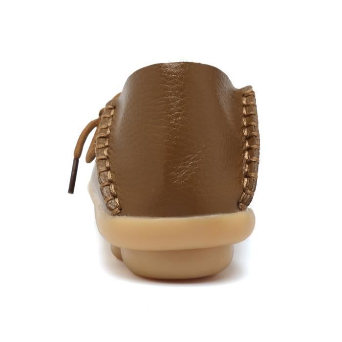 Women' S Leather Loafers Casual Moccasin Driving Outdoor Shoes Indoor Flat Slip-on Slippers EFTUK Taille-36 ST5vQL1