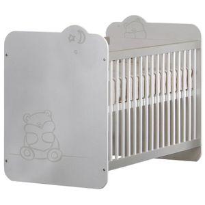 LIT BÉBÉ TEDDY Lit Bébé à Barreaux 60x120 cm Coloris Blanc