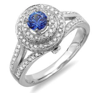 BAGUE - ANNEAU Bague Femme 18 ct 750-1000 Or Blanc Bleu  Saphir e