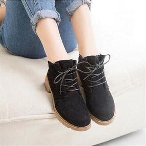Bottine femme Haut qualité Style britannique Chaussures pour Femmes personnalité suédé Bottines femmes Plus De Couleur 35-39,noir,38