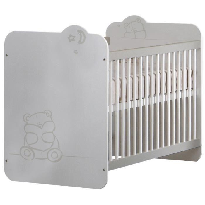 TEDDY Lit Bébé à Barreaux 60x120 cm Coloris Blanc