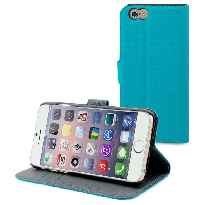 MUVIT Wallet Folio Etui - 3 Rangements cartes - Turquoise - Pour Apple Iphone 6, 6s +