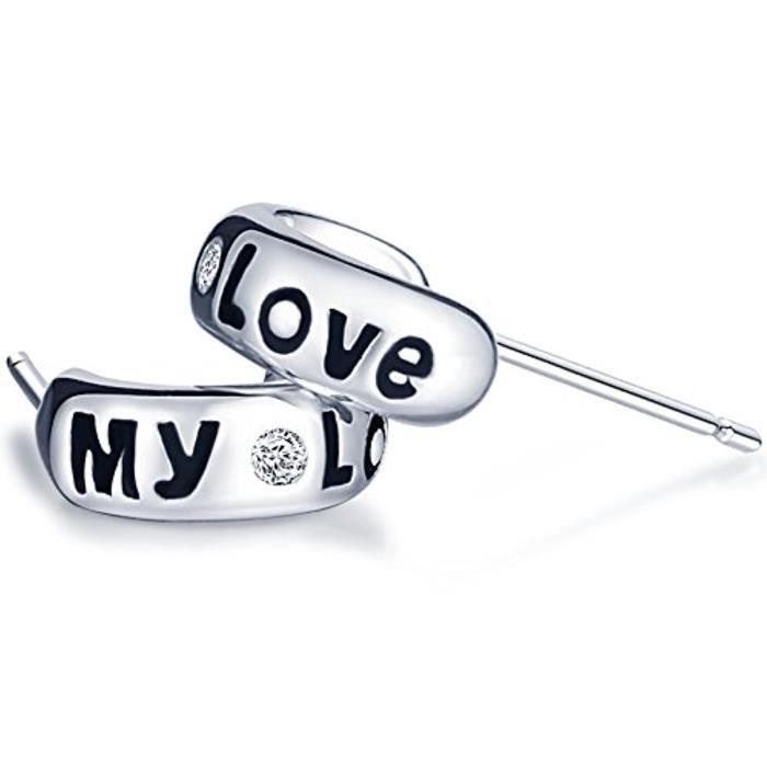 Boucle DOreille My LoveClassique Avec Zircon Sertien S925 Argent Fin Et Zirconium Clou DOreille De Blanc DArgent Pour Les