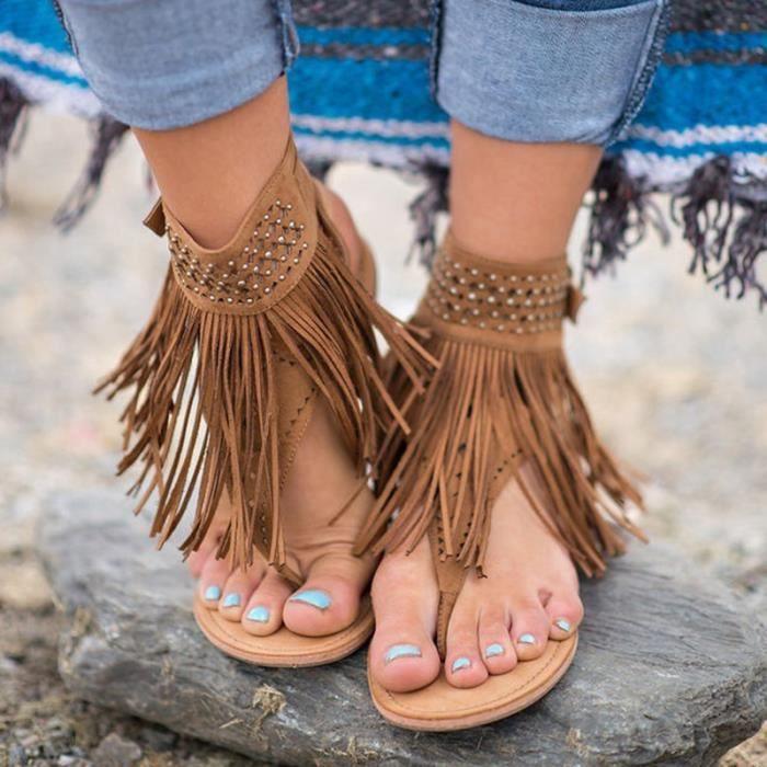 SHELOVEIT® Des sandales Femmes bohémien Appartement Glands Décontractée