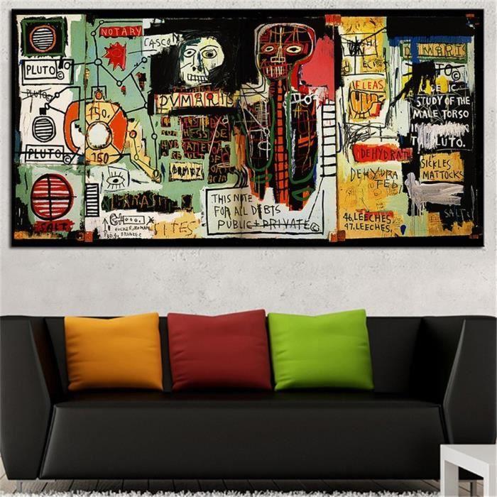 Home d cor peinture l 39 huile jean michel basquiat hd imprimer toile tableau moderne wall art - Decor discount st jean de vedas ...